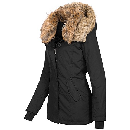 Sublevel Fashion Damen Parka Kapuze Schwarz