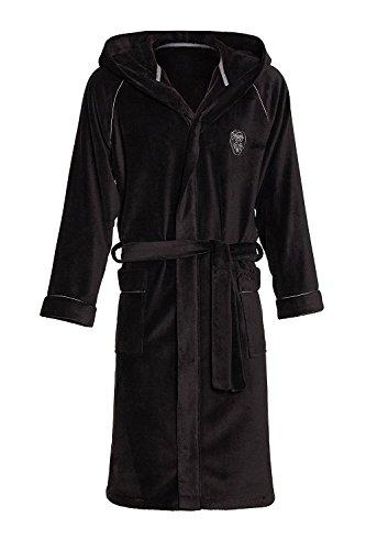 Preisvergleich Produktbild LEVERIE hochwertiger und kuschelweicher Bademantel / Saunamantel für Herren mit Kapuze und praktischen Taschen, schwarz, Gr. 3XL