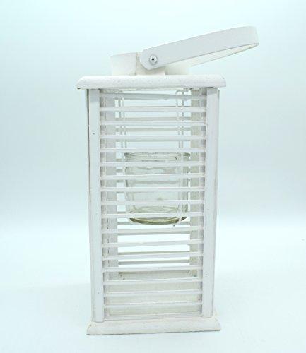 E Trade Lanterna a LED in Vimini e Rattan, Colore Bianco - 7