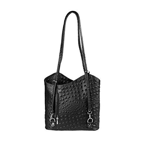 OBC Made in Italy Ledertasche Damentasche 2in1 Handtasche Rucksack Umhängetasche Schultertasche Tablet/Ipad mini bis ca. 10-12 Zoll 27x29x8 cm (BxHxT) (Schwarz) Schwarz (Kroko)