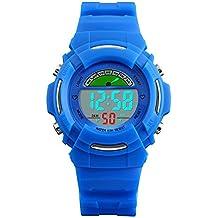 Niños Digital Relojes para niños Deportes al aire libre para niños–5ATM resistente al agua relojes, azul electonic Led Digital muñeca reloj con alarma/el luz/semana para niños por vdsow