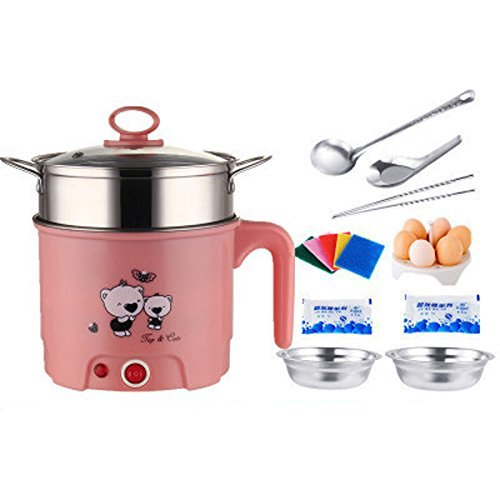 Nadalan Electric Cooker Multi-functional Cookware Pot Small Power Electric Cooker for Cooking/Noodles/Boiling Water Eggs 1.8L 1-2 People (Pink)