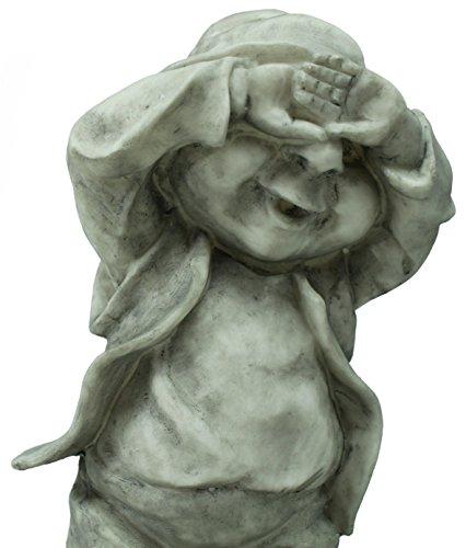 Dekofigur Wichtel Gnom Granit look Gartenfigur 32 cm Gartenzwerg Gartendekoration - 2