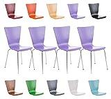 CLP 4er-Set Stapelstuhl Aaron mit Holzsitz und stabilem Metallgestell I 4X Platzsparender Stuhl mit Pflegeleichter Sitzfläche I In verschieden Farben erhältlich Lila
