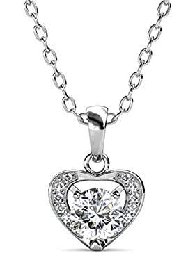 YOURDORA Kette Dame Rhodiniertes Silber 3A Zirkonia Herz Anhanger Halskette Gemacht von SWAROVSKI Ein
