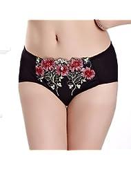 Ropa Interior De Mujer De Encaje De Flores Bordado Cintura Abdomen Sin Costuras Invisibles Briefs Size,F,Black