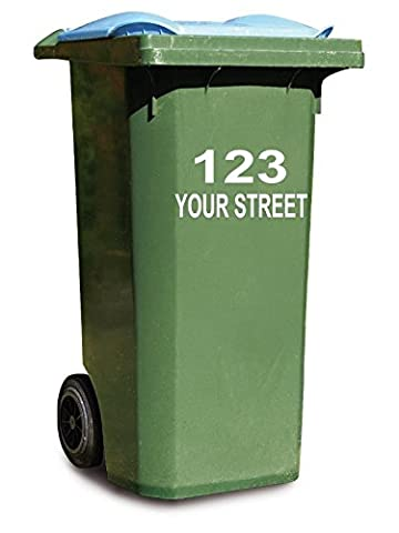 3 x Personalised Wheelie Bin House Number and Street Name Sign Decal Vinyl Sticker For Shop Office Home Cafe Hotels FREE