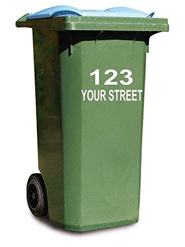 Preisvergleich Produktbild 3 x Personalisierte Aufkleber für Mülltonnen auf Rollen, Hausnummer und Straße, Vinyl, für Geschäft/Büro/zu Hause/Café/Hotel