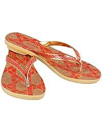 Birde PU Red & Brown Slippers For Women & Girls