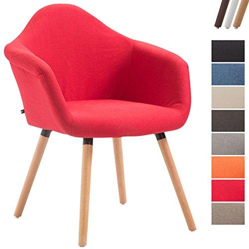 CLP Esszimmerstuhl TITO mit hochwertiger Polsterung und Stoffbezug I Sessel mit robustem Holzgestell aus Buchenholz I erhältlich Rot, Gestellfarbe: Natura