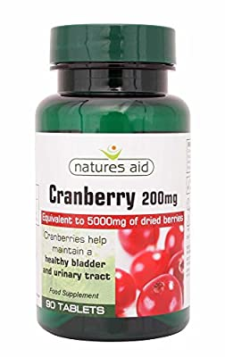 Cranberry 200mg 5000mg Equivalent 90 Tablets, Urinary Kidneys Bladder Health UTI - PACK OF 3 by Natures Aid