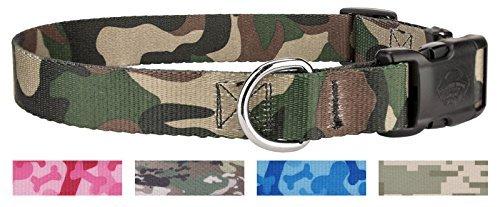 Country Brook Design Deluxe Hund Halsband-Militär und Camo Collection, Medium, 1 inch Wide, Woodlang/Camouflage -