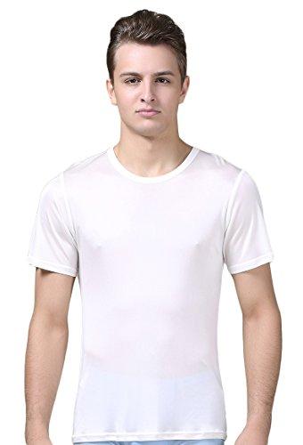 Mens Silk Knit Tank Top (Tulpen Herren Maulbeerseide Unterhemd Stretch Oberteil Darunter Vest Weiss L)