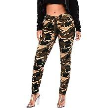 Pantalones Mujer Cintura Alta Camuflaje Militar Impreso Elastico Leggings  Pantalones de Vendaje Casual Suelto Pantalones con 6acc7859470d