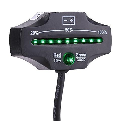 Qiilu 12V 24V LED Voltmètre Testeur D'affichage Indicateur de Capacité Batterie d'acide pour les Chariots de golf Marine Motorcycle ATV Truck