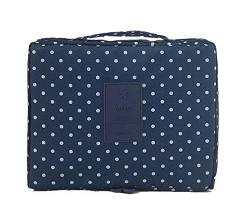 Reisetasche Reisen Multi-Bag Kosmetiktasche Badetasche Veredelungsbeutel Pflegetasche Multifunktionale Aufbewahrungsbeutel für Frauen und Herren (Dunkelblaue Punkte) -