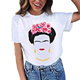 TINGSU Damen Mädchen Übergröße Druck T-Shirt, kurzärmlig, Bluse Tops Fashion Shirt (weiß, XXL)