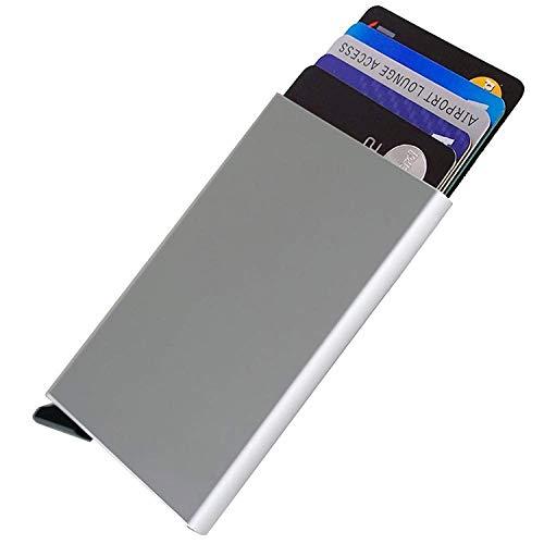 Porte Cartes de crédit,RFID Blocage Portefeuille Porte-Cartes, Automatique Pop-up,pour jusqu'à 6 Cartes(Argent