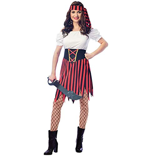 SP Funworld Frauen Piraten Kostüm Piraten Party Dress Up Kleid mit Schwert, Gürtel, Stirnband - Piraten Party Kostüm Für Erwachsene