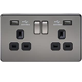 Knightsbridge SF9902BN 13 A 2-Gang Screwless Switched Socket with Dual USB Charger - Black Nickel with Black Insert
