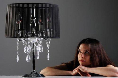 Casa Padrino Barock Hockerleuchte mit Kristall-Deco, 4-Flammig, Schwarz, nostalgische Tischleuchte, Leuchte Lampe - 4 Lampe Kristall