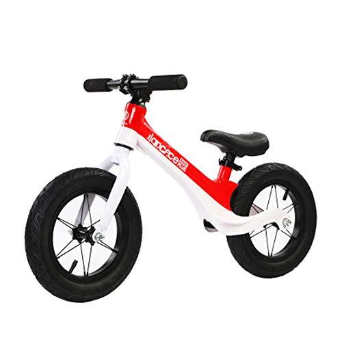 LXFDS Magnesiumlegierung Kinder Balance Auto 12 Zoll kein Pedal aufblasbare Rollschuh Schritt yo 2-6 Jahre altes Baby-red
