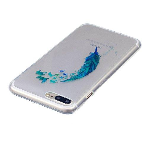 iPhone 7 Plus Hülle, Voguecase Silikon Schutzhülle / Case / Cover / Hülle / TPU Gel Skin für Apple iPhone 7 Plus/iPhone 8 Plus 5.5(Schwarze Katze 08) + Gratis Universal Eingabestift Grün Gefieder 05