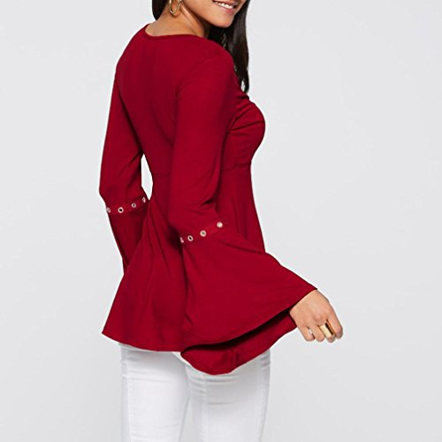 HUHU833 Femme tee shirt Casual Col V Corne à Manches longues mode Tops chic Sweater Tee-Shirt Blouse Rouge