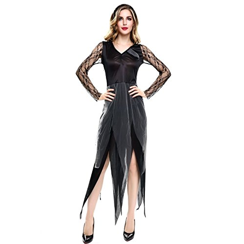 ADFHGFJ Halloween Party Rolle Spielen Hell Geist Braut Kleid Make-up Dance Show Kostüme Sexy Frauen Party Leistung Kleidung, Black
