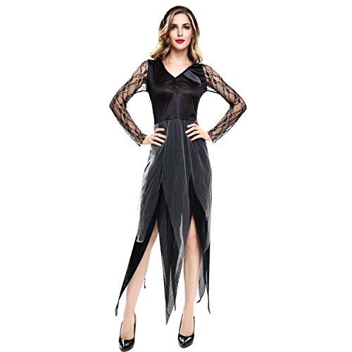 CHEN Halloween Party Rolle Spielen Hell Geist Braut Kleid Make-up Dance Show Kostüme Sexy Frauen Party Leistung Kleidung, Black (Braut Kostüm Make Up)