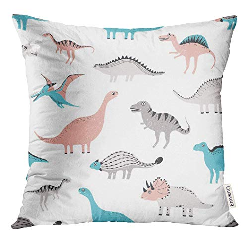 w Cover Pink Cartoon Blue Baby Funny Dinosaurs Cute Childish Dino Colorful Gray Animal Beast Character Child Decorative Pillow Case Home Decor Square 18x18 Inches Pillowcase ()