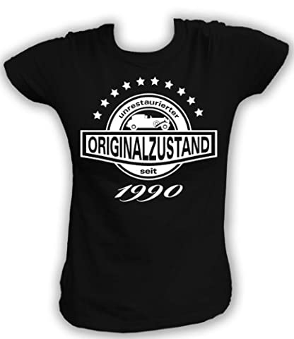 Artdiktat T-Shirt Unrestaurierter Originalzustand seit 1990 Damen, Größe XL, schwarz (1990 Verein)