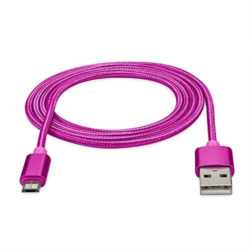 rocabo 1,2m Premium Micro-USB auf USB Kabel pink – Handy Lade-Kabel – Datenkabel – Synchronisation-Kabel – Nylonmantel – für Smartphones, Handy, E-Reader, MP3-Player und viele mehr