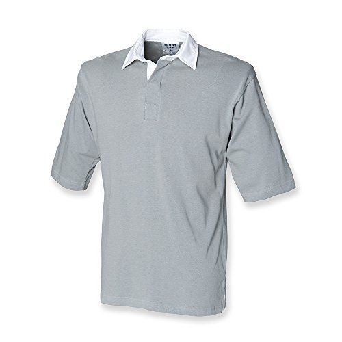 Front Row Mens Heavy Short Sleeve Cotton Casual rugby shirt S,M,L,XL,XXL Slate Grey