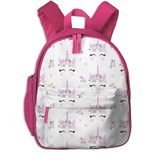 Kinderrucksack mädchen,Einhorn Gesicht Floral Unicorn Quilt Kinderzimmer Stoff White_2611 - Charlottewinter, für Kinderschulen Oxford Tuch (pink)