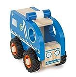 small foot 11077 Polizeiauto aus Holz für Kinder ab 18 Monate, 100% FSC-Zertifiziert, durch große gummierte Reifen Spielzeug, blau