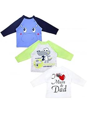 TupTam Unisex Baby Langarmshirt mit Spruch 3er Pack
