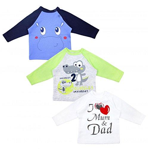 TupTam Unisex Baby Langarmshirt mit Spruch 3er Pack, Farbe: Junge, Größe: 56