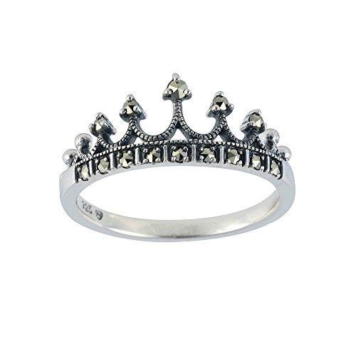 Esse Marcasite Ohrhänger aus Sterlingsilber, Tiara Princess Ring Charlotte, Grau, P (Charlotte Kunstleder)