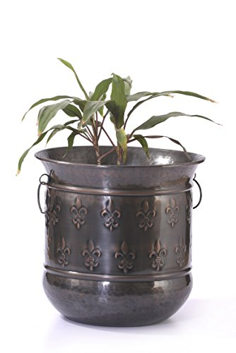 Goyal India Iron Planter with Copper Finish (Large, Brown, 61602-CA)