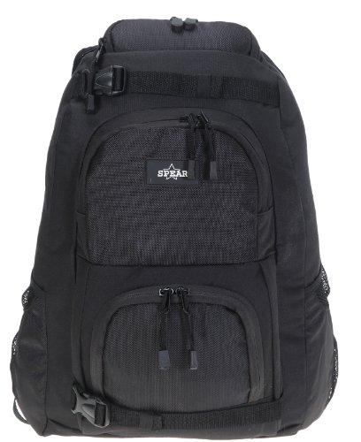 Mp3-player Case Pack (SPEAR GEAR Skaterrucksack Schulrucksack XL Laptopfach 40 x 27 cm + Regenhülle SCHWARZ)