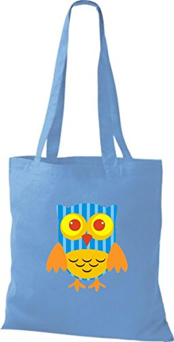 Bunte Tragetasche Eule Stoffbeutel Farbe niedliche ShirtInStyle Jute Punkte mit hellblau diverse Retro Owl USwXEqax