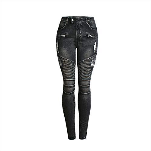 GZYD Damen Jeans Slim Fit Kaputte Hose Schlank elastische Kraft Hüfte Atmungsaktiv Damen Vier Jahreszeiten Wild schwarz Jeans,M -