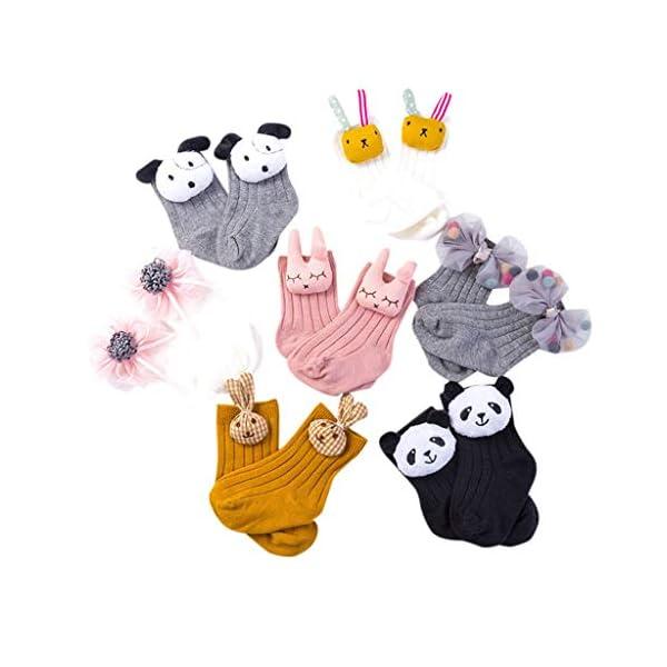 Mitlfuny 2 Pares Bebé Niños Calcetines Cortos de Algodón Antideslizantes Medias Oso Conejo Dibujos Animados Flor Raya… 1
