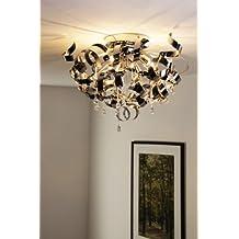 moderne verchromte deckenlampe mit spiralen und behang - Wohnzimmer Lampen