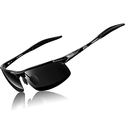 ATTCL® New Fashion Driving Polarized Sport Sunglasses Mens Unbreakable Metal Frame 8177 Black
