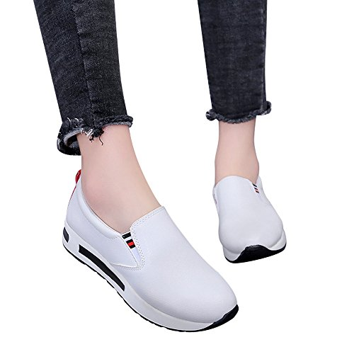 OHQ Chaussures AugmentéEs De Maille Occasionnelles Femmes à Semelles éPaisses Rouge Noir Blanc Augmenté Net Casual Respirant Mesh Slope ÉPais Plate-Forme Sneakers Homme Blanchenew (37, Blanc-A)