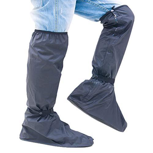 eiterte Männer Jungen Knie-hohe Wasserdichte Schuh-Abdeckung Motorrad Wasserdichte Überschuhe Gummistiefel schwarz S ()
