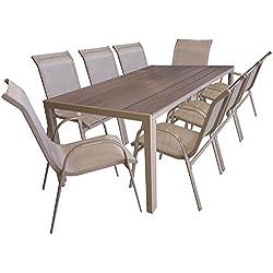 Multistore 2002 9 Pièces salon de jardin table de jardin en Polywood et Aluminium 205x90cm + 8x chaises empilables en acier enduit et textilène meubles de jardin mobilier de jardin et terrasse
