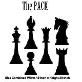Le pack–Pièces d'échecs DIY facile à appliquer mur Stickers muraux en vinyle amusant et cool pour les décorations maison d'amélioration et rend le cadeau idéal